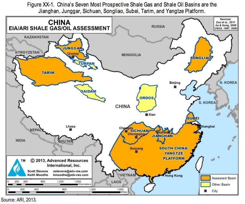 中国 シェールガス 2013 2