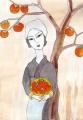 柿の木と女