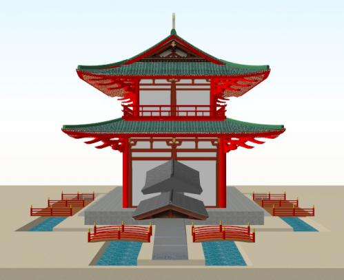 羅城を伴った羅城門(側面)