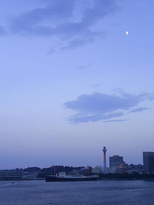 薄暮のマリンタワーと氷川丸.jpg