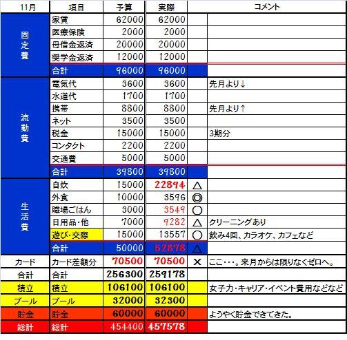 2013 11月収支