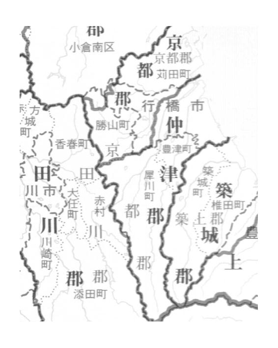 豊前国の地図