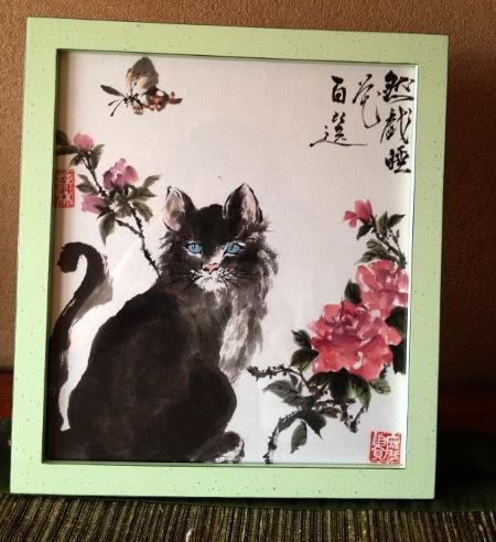 20120513 母の日 墨彩 猫 薔薇 蝶