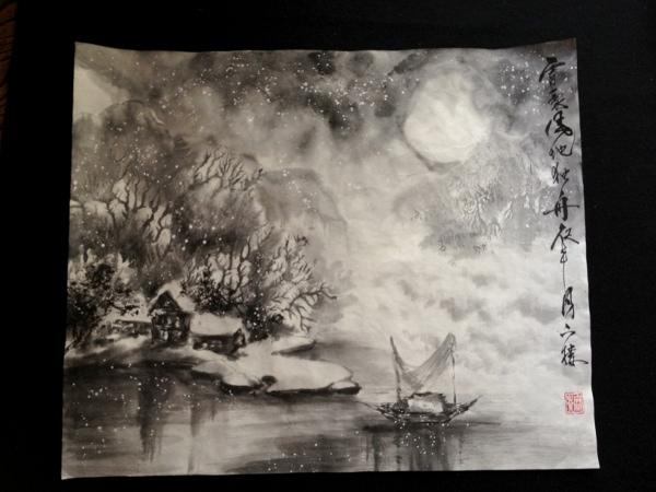 201209 水墨画 雪渓