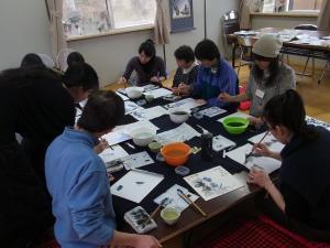 201204 春の水墨画ボランティア 1日目 am04