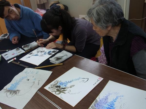 201204 春の水墨画ボランティア 1日目 am05