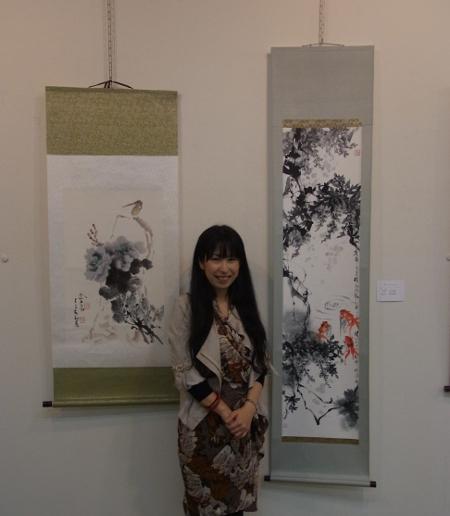 2012日中水墨展 藤と金魚