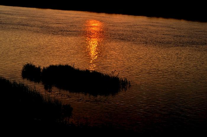 今日の夕陽 川面