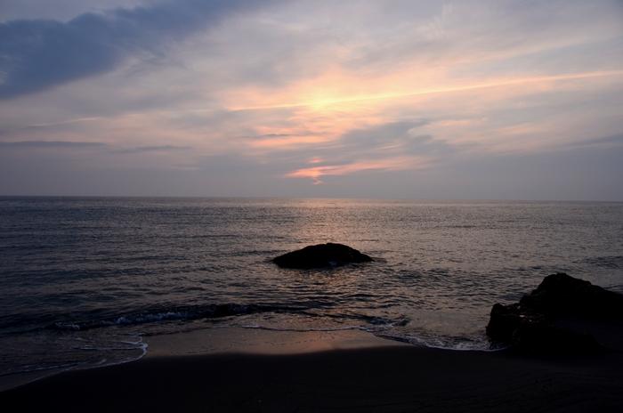 今日の夕陽 海にて 1