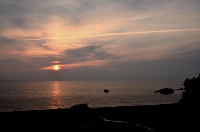 今日の夕陽 海にて 2
