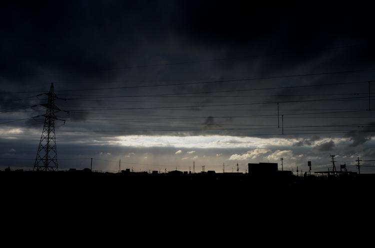 今日の夕陽 台風一過 1