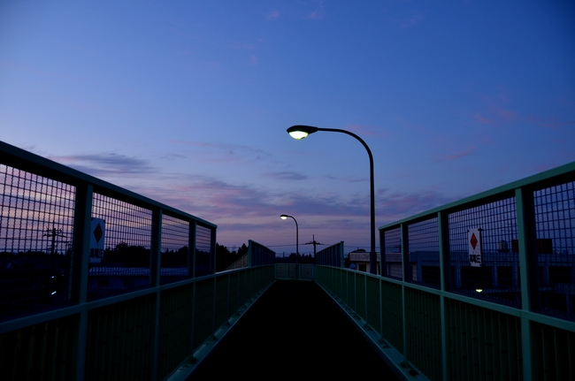 今日の夕陽 跨線橋から-3