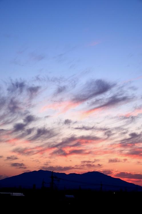 今日の夕陽 跨線橋から-2