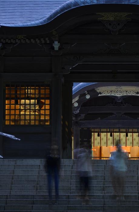 神社 夕暮れ-2