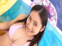 【巨乳アイドル】紗綾 プールで可愛いピンクビキニ