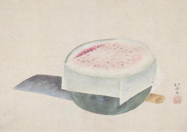 西瓜と包丁(葛飾北斎筆)