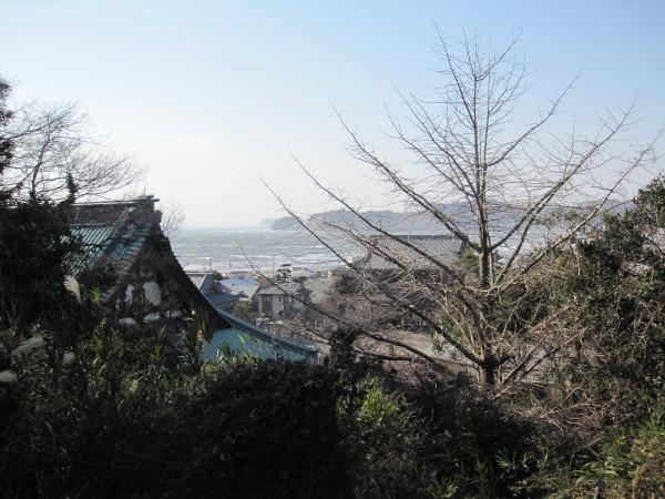 光明寺の甍越しにみる海岸