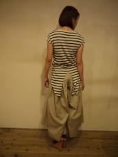 KAPITAL ガーゼボーダー天竺 燕尾フレンチノースリーブTシャツ