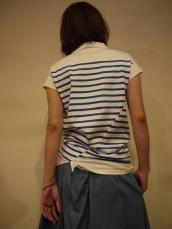 KAPITAL 度詰めパネルボーダー天竺ツイストポロシャツ