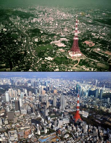 50年前と現在の東京タワー