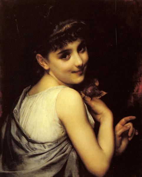 ピオット《赤薔薇を持つ若い美女》
