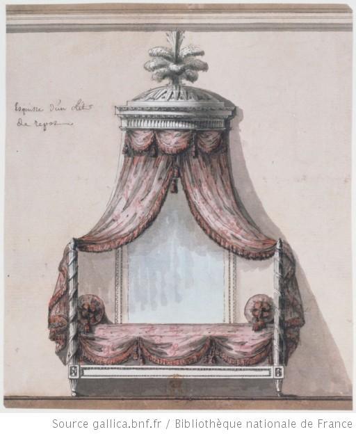 Esquisse dun lit de repos [dessin] [Jean-Jacques Lequeu] --1777-1824