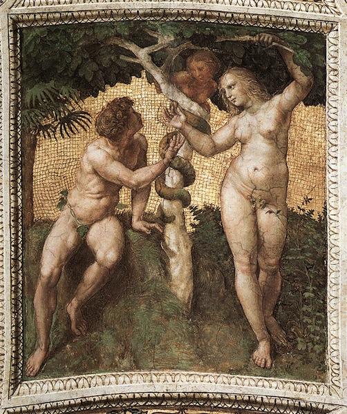 RAFFAELLO Sanzio Adam and Eve (ceiling panel) 1509-11
