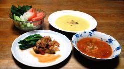 鶏むね肉のソテー&2つのスープ