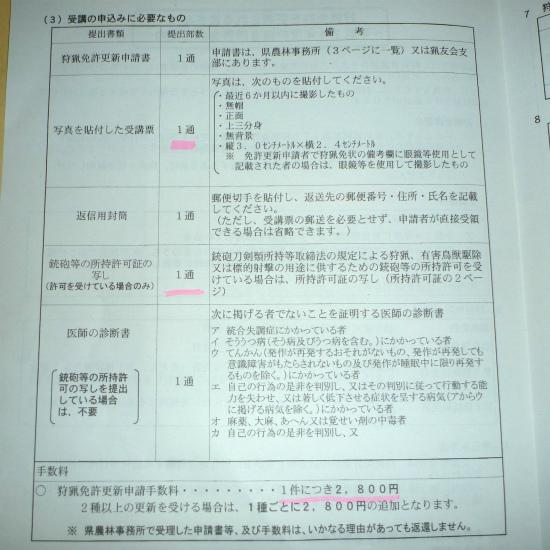 2012.07.13狩猟免許の更新