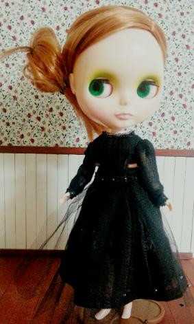 黒リネンロングドレス