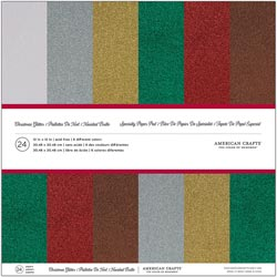 324833 American Crafts Cardstock Pack 12インチ 24枚 (Christmas Glitter) 2100円