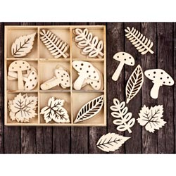 493505 [Prima] Laser Cut Wood Icons In A Box (Leaves Mushrooms) 36ピース 650円