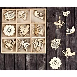 493518 [Prima] Laser Cut Wood Icons In A Box (Birds Owls) 45ピース 650円