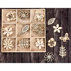 493521 [Prima] Laser Cut Wood Icons In A Box (Leaves Flowers) 36ピース 650円
