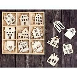 493523 [Prima] Laser Cut Wood Icons In A Box (Houses Buildings ) 45ピース 650円