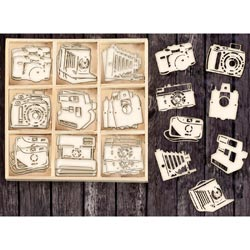 493535 [Prima] Laser Cut Wood Icons In A Box (Cameras) 36ピース 650円