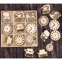 493553 [Prima] Laser Cut Wood Icons In A Box (Typewriters Clocks) 36ピース 650円