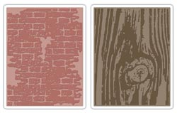 432883 Sizzix Texture Fades Embossing Folders By Tim Holtz (Bricked Woodgrain) 1100円