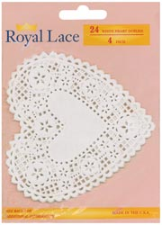 156816 [Royal Lace] Paper Doilies 4inch White Heart 24枚 300円