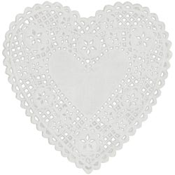156817 [Royal Lace] Paper Doilies 6inch White Heart 18枚 300円