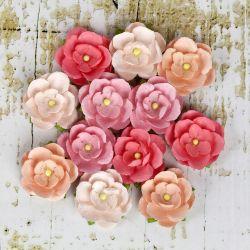 036308 [Prima] Avante Paper Flowers 1インチ 12ピース (Coral) 450x3