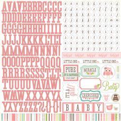 029607 [Echo Park Paper] Bundle Of Joy Girl カードストックステッカー 12インチ (Alpha) 350