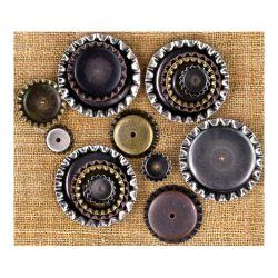 036229 [Prima] Sunrise Sunset Mechanicals Metal Vintage Trinkets (Bottle Cap) 500