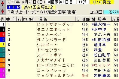 宝塚記念 2013 枠順
