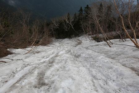 上部の雪渓は結構急