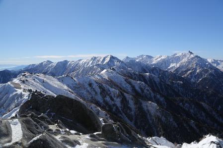 燕岳 燕岳頂上から表銀座と槍