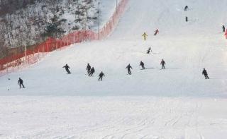 スキーをする人民