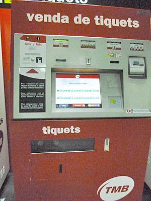 バルセロナのメトロの券売機