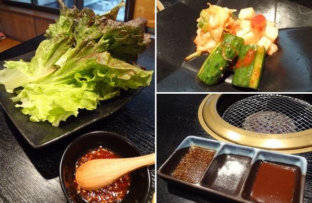 『やきにく道場』チシャ(380円)・キムチ盛り合わせ(?円)・焼肉のタレ