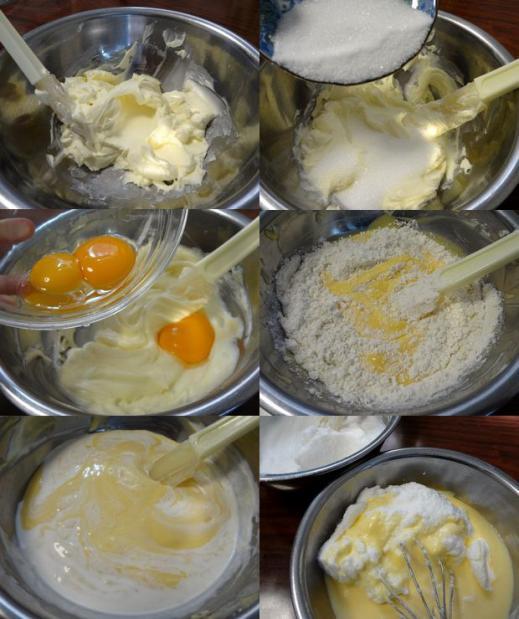 炊飯器 de チーズケーキ(材料を混ぜていく図)
